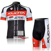 Wholesale top100 Polyester pad COOLMAX black red KUOTA Cycling wear bikes wear short sleeve jersey shorts set
