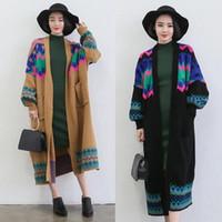 Wholesale Women fashion pattern long sleeved cardigan long sweater coat winter knit coat