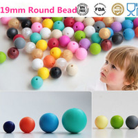 Wholesale 19mm Round Bead Silicone DIY Loose Beads Pendant Bead Mommy Silicone Teething Necklace Beads Fits Baby Nursing Necklaces Bracelets