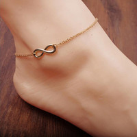 Wholesale Foot Jewelry K Yellow or White Gold Plated Plain Shape Infinity Chain Anklet Bracelet for Women Best Gift