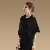 Wholesale Brand New Women Winter Rabbit Fur Real Pullover Banket Poncho Cape Shawl Scarf Pc TP99046