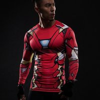 civil war clothing - Iron Man D Printed T shirts Captain America Civil War Tee Long Sleeve Compression Shirt Cosplay Costume Gym Clothing Tops Male