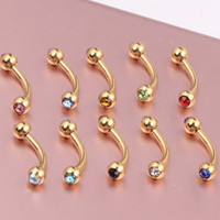 Wholesale mm ball surgical Steel circular piercing plated titanium colors piercing horseshoe eyebrow ring