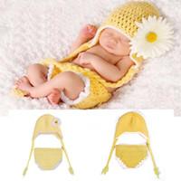 al por mayor pañal ganchillo recién nacido-Lovely Daisy Flower Crochet Baby HatDiaper conjunto de bebé de punto recién nacido Photo Props Infantil hecho a mano 1set traje