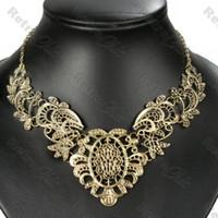 antique lace collar - BIG ornate FILIGREE collar NECKLACE vintage brass BIB antique gold pltd lace H210990