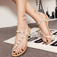 beaded metal cover - 2016 new summer shoes new sandal flat with metal diamond beaded sandal thong female sandals party wedding shoes