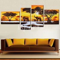 africa animal pictures - hand painted abstract africa landscape oil painting elephants canvas art wall picture for living room decoration panels wall painting