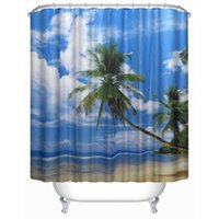 Wholesale 180cm cm Blue Sea Sky Bathroom Shower Curtain Mildewproof Polyester Fabric Toilet Drape Bedroom Purdah