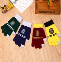 Wholesale Harry Potter Touchscreen Gloves Gryffindor Ravenclaw Hufflepuff gloves Cosplay gloves School Badge gloves Warm finger Gloves KKA828