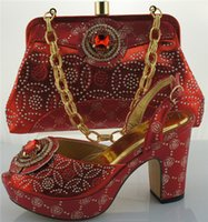 Wholesale With unique Stones Red Nigerian ladies Shoes And Bags To Match ME0020