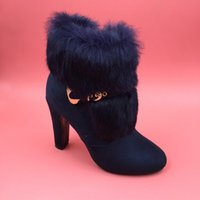 adhesive india - Blue Short Fur Ankle Boots Women High Heels Size Heels Shoes India Faux Suede Booties Plus Size Real Images Boots
