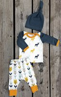 arrow sleeves - 2016 INS Baby Christmas Clothes Baby Three Piece Baby Long Sleeve Elk T shirt Arrow Pants Hat Sets