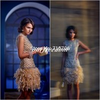 Wholesale Sexy Heavy Bottom - 2016 New Arrival Sheath Heavy Beaded Above Knee Mini Party Dresses Champagne Feather Bottom Cocktail Dresses Custom Made