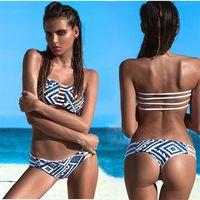 Wholesale 2016 New Fashion Pattern Print Swimwear Brazilian Strapless Padded Bra Beach Bathi Porcelain Bikini Fashion Sexy Triangle Printing Swimwear