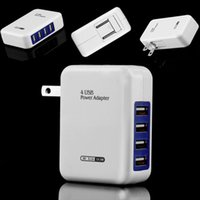 Cheap Wholesale-4 Port USB Travel Charger Mains Wall AC Multi Adapter Pack With US Plug USB Power Adapter