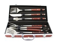 barbecue gift set - SUNNECKO SU Barbecue Tool Set Stainless Steel Pakka Wood Handle Elegant Practical Barbeque Cutlery Best Gift Choice