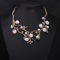 Wholesale Branches with pearls gem diamond short clavicle necklace exaggeration to restore ancient ways women s accessories