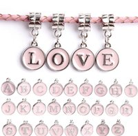 Wholesale 26Pcs Hole Size mm Beads Alloy English Letters DIY beads Jewelry Pink Beads April Style