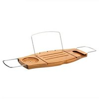 Wholesale Non Slip Bamboo Bathtub Tray and Caddy Adjustable Handcrafted Bath Tray with Reading Rack Wine Holder Cellphone Tray JCW49
