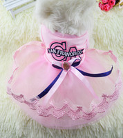 apparel ca - Summer Pet Dog Dress Puppy CA Letters Princess Dress Small Dogs Wedding Apparel Pet Product Accessories Blue Pink