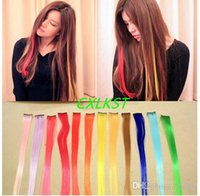 Wholesale Clip In On Colorful Hair Piece Synthetic Straight Hair Extensions Highlight Salon Hairstyle Good Quality Brand New