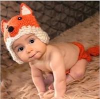 Cute baby accesorios de fotografía España-Nuevo bebé encantador bebé dibujos animados fox fotografía accesorios ganchillo ropa establece sombrero y pantalones cortos recién nacido linda foto traje bebé 0-6m