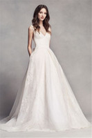 Wholesale Deep V neckline and Hand cut Bow in Back Pleat Wedding Dress VW351318 Applique Lace Lower Back Bridal Gowns