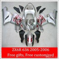 Wholesale Ninja ZX R Fairings For KAWASAKI NINJA ZX6R ZX R ZX R Motorcycle Parts Red Fire Flame Silver Body Kit