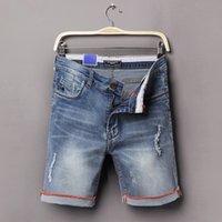 Cheap Wholesale-2016 Summer Men's Short Pants ripped Men Straight hole Men's Fashion Shorts Men Denim kneed Short Jeans
