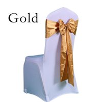 Wholesale 25pc Wedding chair Satin Sashes Gold Spandex chair Cover Sashes Satin Bow tie for Bridal Wedding Marriage Party Supplies