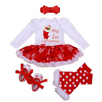 american baby crib - My st Christmas Girls Outfits Tutu Lace Romper Dress Headband Leg Warmers Crib Shoes Newborn Baby Girls Clothes Infant Clothing Girls Suit