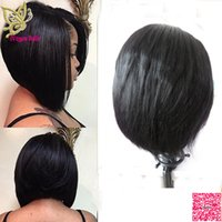 Wholesale Short Bob Lace Front Human Hair Wigs Middle Parting Peruvian Human Hair Full Lace Wigs Silky Straight For Black Women
