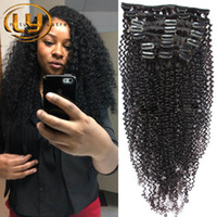 Wholesale Malaysian Curly Human Hair Clip in Extensions Brazilian Hair Clip in Extension set Inches in Stock Color B Brazilian Hair