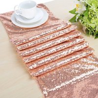 Wholesale 16 x72 Rose Gold Sequin Table Runner Sequin Table Cloth Sequin Tablecloths Sequin Linens