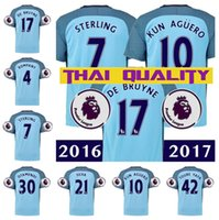 Wholesale 2016 Manchester cityS soccer jerseys Jersey home blue maillot Top thailand quality football shirt with patch