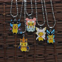 abalone pendants - 2016 New Poke Pocket Monsters Pikachu firedragon pendant necklace alloy animal anime jewelry women Children Christmas gift