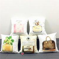 Wholesale Hot Sale Fashion Luxury Cushion Covers X40cm Perfume Bottle Sexy Lipstick Soft Material Pillow Case Bedroom Car Decorative Kids Gift