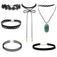 Wholesale 2016 Multi Layer Choker Necklace Set Stretch Velvet Classic Gothic Tattoo Lace Choker Necklaces Black jewelry