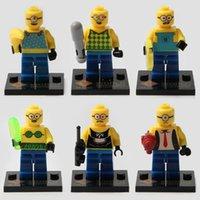 al por mayor mini juguetes despreciables por mayor-480pcs / lot venden al por mayor Minifigures despreciables de Me, juguete determinado del sistema del bloque hueco de las pequeñas figuras plásticas 6 modelos mezclan