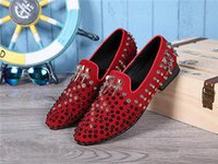 basic wedding cake - 2016 Sell like hot cakes Mens Genuine Leather Shoes Slip on Rivet Black Red Men Business Dress Loafers Basic Flats Wedding Party Shoes Plus