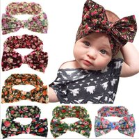 Wholesale Baby Floral Print Big Bow Headbands Infant Hair Accessories Euro America Amazon Hot Sale Baby Print Cotton Headbands Supply
