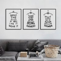 motivational posters - 6pcs Black White Fashion Abstract Poster Prints Motivational Typography Quotes Picture Canvas Painting Girls Room Wall Decor DH0004