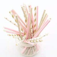 Wholesale DHL pink gold striped mixed Biodegradable Paper Drinking Straws for Wedding party kids Birthday party Decoration supplies