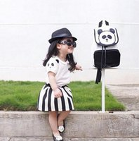 Wholesale 2016 Summer Cotton Bear Design Striped Short Sleeve Outfits White Black Sets Kids Clothing Outifts Girl Summer Clothing UK7321