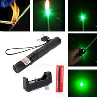 Wholesale Free DHL nm High Power Green Laser Pen Pointers Focus Adjustable Burning Match Laser Pen with Battery and Charger