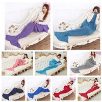 Wholesale Adult Mermaid Tail Blankets Mermaid Sleeping Bag Hand Crocheted Blankets Sofa Knit Cocoon Mermaid Warm Blanket cm KKA787