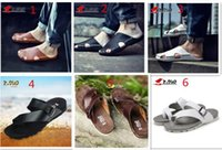 Wholesale Men Summer Slide Sandals Flip Flops New Walking Shoes Seaside Beach Flats Real Genuine Leather