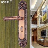 Wholesale bronze door lock anti theft door lock panel handle double door handle lock handle panel
