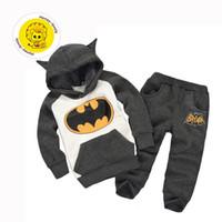 Wholesale winter children s boys clothing suits batman kids set hooded boy pants children sports suit clothes set retail