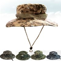 army bucket - Hot Seller Women s Men s Unisex Wide Brim Hats Military Camouflage Cap Sun Bucket Army Fishing Hunting Polyester FX300